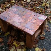 copper top coffee table